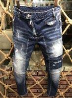 calças baggy design venda por atacado-2018 Splice Mens Designer de Calças de Brim Motociclista Projetos Calças Revival Rock Baggy Hole Para O Verão de Moda Masculina Qualidade de Roupas Masculinas Basculadores A185
