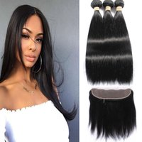 Wholesale human front hair weave online - Peruvian Straight Human Hair Bundles With Lcae Closure Human Hair Bundles With Lace Front Closure Natural Blacek Color Can Be Dyed