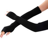 manchons sans doigts achat en gros de-Manchettes de laine en gros automne hiver 52cm femmes laine tricotée manchon de bras solide Superfine Longs gants tricotés sans doigts