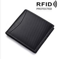 Wholesale front pocket wallets for sale - Group buy Genuine Leather Mens RFID Carbon Black ID Wallet Slim Credit Card Holder Minimalist Front Pocket Wallets for Men Money Clip