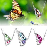 collar de mariposa coreano al por mayor-Corea bailando mariposa colgante de cristal colgante collares boutiques fuentes de comercio exterior mujeres joyería KKA1701