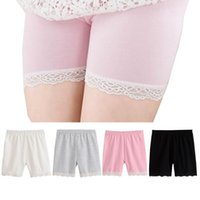 Wholesale girls summer leggings - summer fashion girls cotton short leggings lace short leggings for girls lace safety pants shorts baby girl short tights high quality