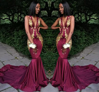 Wholesale dresses africa resale online - Africa Sexy Grape Prom Dresses Deep V Neck Sleeveless Prom Gowns With Gold Applique Mermaid Style Sweep Train Custom Made Formal Gowns