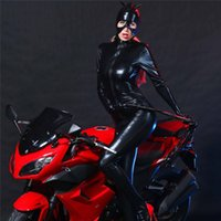 Wholesale sexy leather cat woman costume online - Patent Leather Cat Girl Catsuit Black Sexy Nightclub DS Club Uniforms Catwoman Costume with Helmet and Gloves