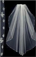 Wholesale Bride Sale - Hot Sale Short Bridal Wedding Veils Beaded Edge Free Shipping Tulle One Layer Bride Head Veils