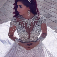 Wholesale muslim robes - 2018 Latest Luxury Beading Long Sleeve Muslim Wedding Gowns With Long Train Sequined Lace Wedding Dresses Turke Robe De Mariage