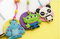 Wholesale cute cell phone plugs - Creative cartoon 3d animals mobile phone cleaner earcap with dust plug cute Spoil Cell chain Accessories