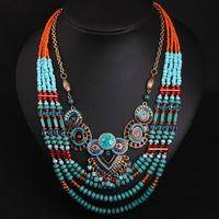 perlen halskette zubehör für frau großhandel-New Bohemia Handmade Beaded Ethnic Halskette Boho Bohemian Short Collarbone Halskette Damen Damen Accessoires Schmuck Duftgold