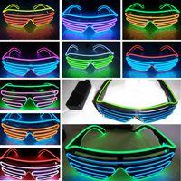 ingrosso occhiali da sole lampeggianti-Led Party Glasses EL Wire Vetro fluorescente Flash con finestra Halloween Christmas Birthday Party Bar decorativo luminoso in vetro HH7-1448