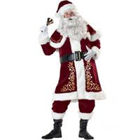 traje de los hombres de santa claus al por mayor-Disfraz de Papá Noel de lujo para hombre Terciopelo Navidad XMAS Cosplay Fancy Dress