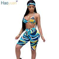 cd633b06ddab HAOYUAN Sexy 3 Piece Set Women Head Scarf+Crop Tops+Bodycon Shorts Sweat  Suits Boho Beach Summer Outfits Three Piece Tracksuit
