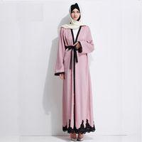 79fecf46f7 Adult Muslim Arab Beading cardigan abaya fashion dubai islamic large size  dress wj754 prayer service clothing free shipping