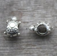 Wholesale tortoise beads - 20pcs lot-Turtle Beads, Antique silver Tortoise bead, Beadwork Charms pendant 14X9mm