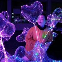 globos de corazon led al por mayor-Globo de aire creativo de 18 pulgadas PVC en forma de corazón Globos transparentes LED Globo aerostático luminoso respetuoso con el medio ambiente para decoraciones de bodas