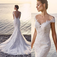 Wholesale sexy wedding dresses fitted sheer for sale - Group buy Illusion Beach Lace Mermaid Wedding Dress Sexy Fit and Flare See Through Back Appliques Tulle Bridal Gowns Sheer Shoulder Cap Sleeve Button