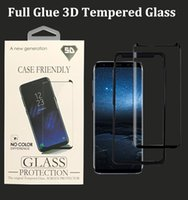 Wholesale Screen Adhesive - Full Adhesive Glue 3D Tempered Glass Case Friendly Curved Screen Protector for Samsung S9 Plus S8 Galaxy Note 8 with accessories