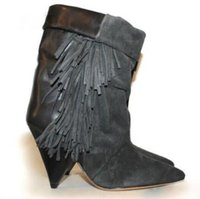 talons frangés achat en gros de-2018 Hot Suede Patchwork Fringed Spike Heels Bottines en cuir Bottines Pointed Toe Femme Bottes à talons hauts Slip on Riding Boots