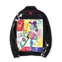 abrigos de moda masculina al por mayor-Hip Hop Graffiti Cartoon Ripped Denim Chaquetas Hombre Casual Jeans desgastados Chaqueta Abrigo Streetwear Moda Hombre Tops