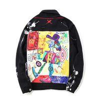 rahat kot moda toptan satış-Hip Hop Graffiti Karikatür Yırtık Kot Ceketler Erkek Casual Sıkıntılı Kot Ceket Ceket Streetwear Moda Erkek Tops
