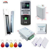 Wholesale rfid door lock kit - Fingerprint RFID Access Control System DIY Kit Glass Door Gate Opener Set Electronic Magnetic Lock ID Card Power Supply Button