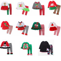 Wholesale christmas sets kid suits for sale - Kids Girls Christmas Clothing Sets Xmas Ins Outfits Cotton Floral Striped Suits santa Children Long Sleeve Dress fashion home Clothes GGA795