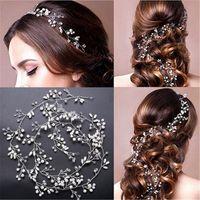 chapeaux de chaîne achat en gros de-Cristal Main Longue Cheveux De Mariée Tiara Voile Bandeau Perle Bandeaux Accessoires De Cheveux De Mariée Chaîne
