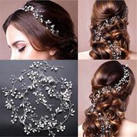 kristal inci perde toptan satış-Kristal El Yapımı Uzun Gelin Saç Tiara Peçe Başlığı Inci Hairbands Düğün Saç Aksesuarları Gelin Baş Zinciri