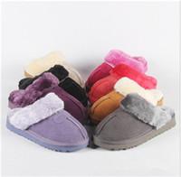 bottes de neige d'intérieur achat en gros de-Bottes de designer chauds Ug Australie hiver pantoufles intérieures 100% cuir véritable
