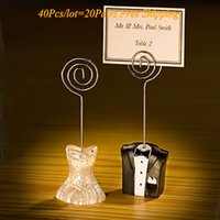 Wholesale wedding name place cards for sale - Group buy Pairs Bride and Groom Wedding Place Card Holder For Wedding Decorations and guest name card holders Party Favors NO CARDS