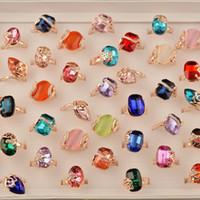 anel de diamante femme venda por atacado-10 pcs 2018 Moda Anel Mulheres Strass Diamante Lojas de Jóias Anéis De Cristal para As Mulheres Meninas Mix Atacado Bijoux Femme Preço de Fábrica