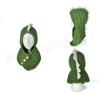 Wholesale cartoon children scarves wraps for sale - INS Dinosaur Knitted Caps Children Beanies Scarf in Cartoon Wool Hat kids Autumn Winter Keep Warm hats Scarves Wraps sets GGA1023