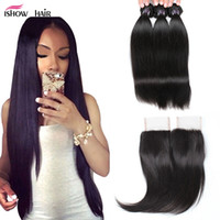 Wholesale weft hair weaving extensions closure for sale - Cheap A Brazilian Virgin Hair Straight With x4 Lace Closure Human Hair Extensions Weave Bundles Wefts Bundles With Closure