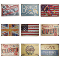 Wholesale vintage beach painting - Vintage Style Iron Painting Beach Parts And Service Garage 20*30cm Tin Signs National Flag Tin Posters Hot Sale ZB