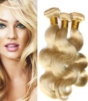tissage de la marque péruvienne achat en gros de-Elibess Brand - Peruvian Straight Body Wave Weave 3 faisceaux 613 Bundles de couleur blonde cheveux vierges