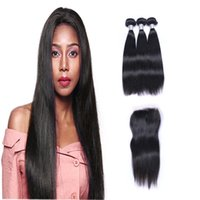 Wholesale middle part hair weave online - Brazilian Straight Hair Weaves Bundles with Closure Free Middle Part A Quality Double Weft Human Hair Extensions Dyeable g pc