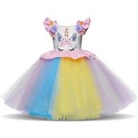 doğum günü kızı için süslü elbiseler toptan satış-1 Yıl Kız Bebek Elbise Prenses İlk Doğum Günü Pastası Smash Gökkuşağı Kıyafet İçin Fantezi Kız bebekler Unicorn Renkli Elbise