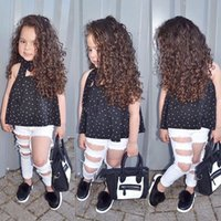 Wholesale New Fashion Jeans Kids - Girls INS set 2018 new Children fashion dot bow+ tops + Ripped Jeans 3 pieces set suit Baby kids clothing B11