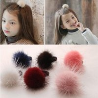 Wholesale mink balls - Baby Kids Cute Hair Accessories Headwear Mini Mink Ball Rubber Headbands Girls Children Solid Color Pompon Gum Elastic Hair Band