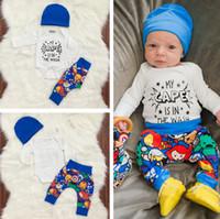 Wholesale Boys Romper 24 Months - Baby Boy Clothes 2018 Spring Autumn Children Clothing Sets Long Sleeve T shirt Romper Hat Pants 3PCS Boys Suit Cotton Toddler Boys Clothing