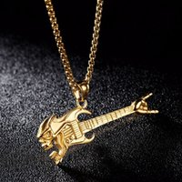 Wholesale guitar accessories gifts - Necklace Accessories Fashion Rock Happiness Guitar Victory Gesture Musical Instruments Necklace Pendant Accessories 2 Colors Men Gifts G873F