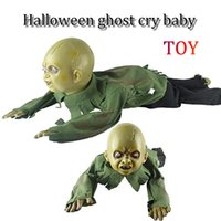 Wholesale moving toys baby resale online - Halloween electronic robots auto move Scary ornaments trick scary props sound control glowing ghosts will crawl baby ghosts toys
