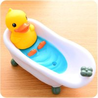 Wholesale pvc bathtub - Fashion Draining Soap Box Creative PVC Material Bathtub Decoration Cartoon Yellow Duck Soap Dishes Holder Dull Polish Stable Base 9 4yj X