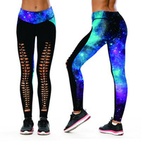 Wholesale jeggings pants galaxy - Women Yoga Pants Elastic Sport Leggings Galaxy 3D Print Running Pant Slim Tight Gym Quick Dry Hollow Out Jeggings Skinny Trouser