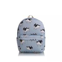 kız sırt çantaları köpekleri toptan satış-Tuval Fransız bulldog Sırt Çantası SıCAK kız Boston teriyer Köpekler Hayvan baskı çizgili karikatür Kitap Seyahat Okul çantaları Sırt Çantası