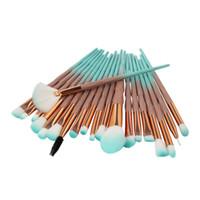 blau bearbeitete make-up pinsel großhandel-Schöne hellblaue farbe 20 teile / satz Diamant Griff Pinsel Augenbürste Schönheit Werkzeuge make-up pinsel-tools kitset Lidschatten