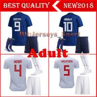 conjuntos de futebol azul venda por atacado-2018 Copa do mundo Japão Camisas De Futebol Em Casa kit adulto azul com meias maillot 2017 2018 OKAZAKI KAGAWA Nacional Completa Conjuntos de Camisas de Futebol