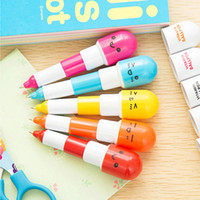 Wholesale Pill Pens - [4Y4A] 30pcs Lot 50pcs Lot creative stationery students ball point pen cartoon expression pill pens