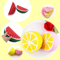 Wholesale fruit gifts - Fruit Squishy Toys Cute Cartoon Lemon Watermelon Pink Toy Decompression Jumbo Squishies Slow Rising Scented Charms Kids Gift DHL Free