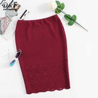 Wholesale Lady S Bottom Skirt - Dotfashion Scalloped Laser Cut Form Fitting Skirt 2017 Burgundy Autumn Plain Bottom Ladies Knee Length Pencil Skirt