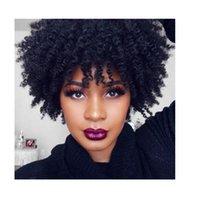 ingrosso parrucca ricci brasiliana afro kinky-donne calde capelli brasiliani Parrucca afro africana riccia crespo riccia africana Parrucca riccia dei capelli umani di simulazione con il botto